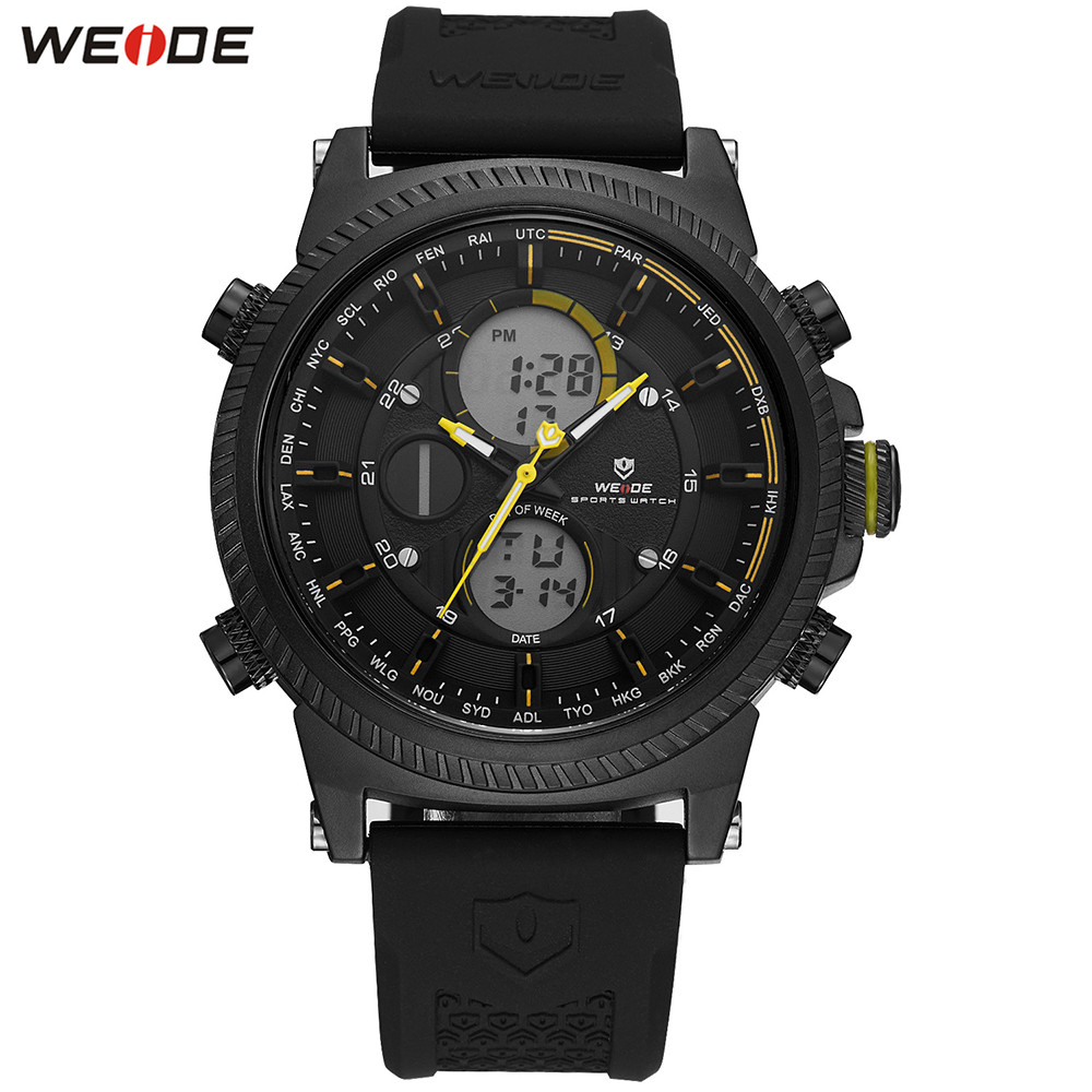 Fashion WEIDE Functional Watch Men Sport Watch Men Digital Quartz LED Multiple Time Watches Silicone Strap Wristwatch Clock Gift weide casual genuin brand watch men sport auto date quartz digital silicone waterproof wristwatch multiple time zone masculino