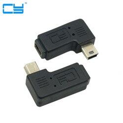 Мини USB 5-контактный штекер к гнезду, Удлинительный адаптер 90 градусов, левый и правый угловой Мини USB адаптер