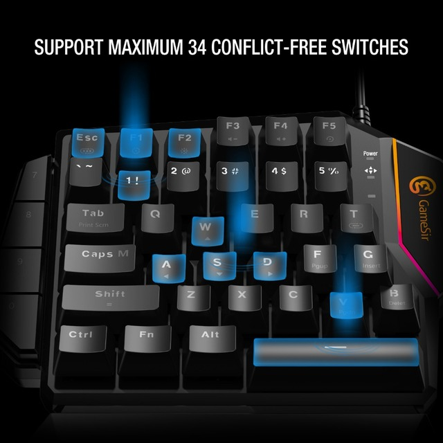 GameSir GK100 Mini Mechanical Blue Switches PC Gaming Keypad for FPS Games, One-hand Keyboard with LED light