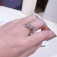 Fashion Joker S925 Sterling Silver Micro Inlay Eight Stars Rings Stars Rice Rings Jewelry Women
