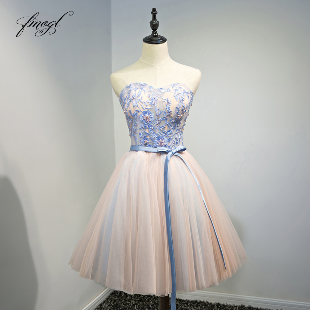 Fmogl Elegant Strapless Knee Length Cocktail Dresses 2019 Beading Embroidery Special Occasion Dress Short Dress For Party