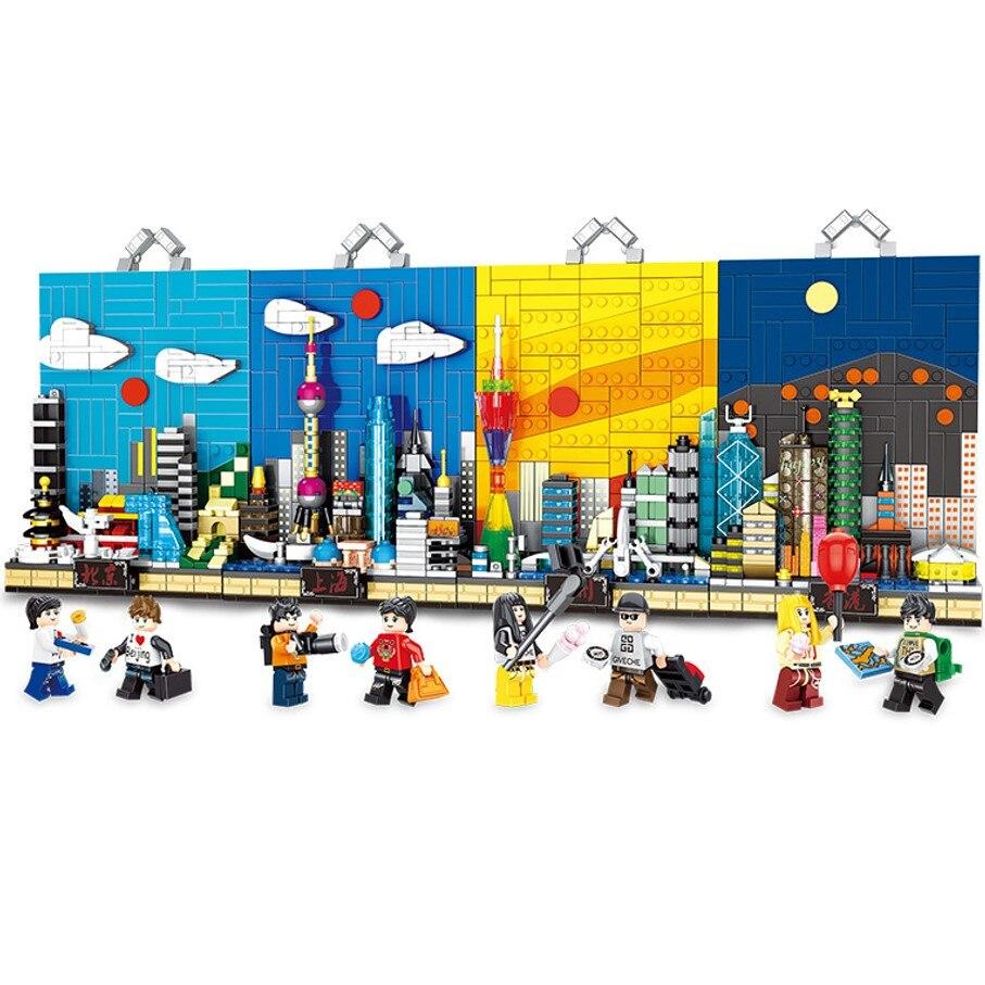 Montare Città Street View Blocchi di Costruzione Murale Giocattolo Mattoni Educativi Per Bambini Regali-in Blocchi da Giocattoli e hobby su  Gruppo 1