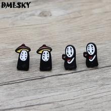 DMLSKY Spirited Away No face man Stud Earrings Kids Cute Prevent allergy Earring Cartoons Ear Jewelry M3209