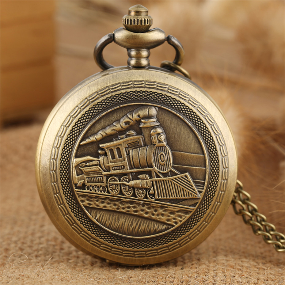 Classic Old Fashioned Steampunk Train Design Quartz Pocket Watch Pendant Fob Chain Bronze Necklace Clock For Men Women Kids