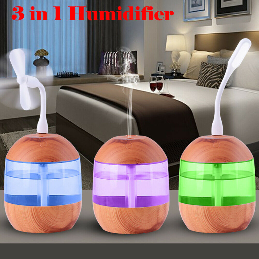 3in 1 LEDaromatherapy Humidifier Essential Oil Air Diffusion Purification UK New