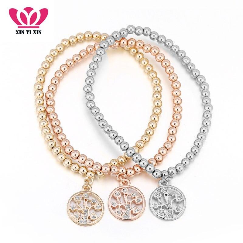Tree of Life Gold Charm Bracelets Cubic Zirconia Fashion Design 3pcs Multilayer Adjustable Elastic Bracelets For Women Party