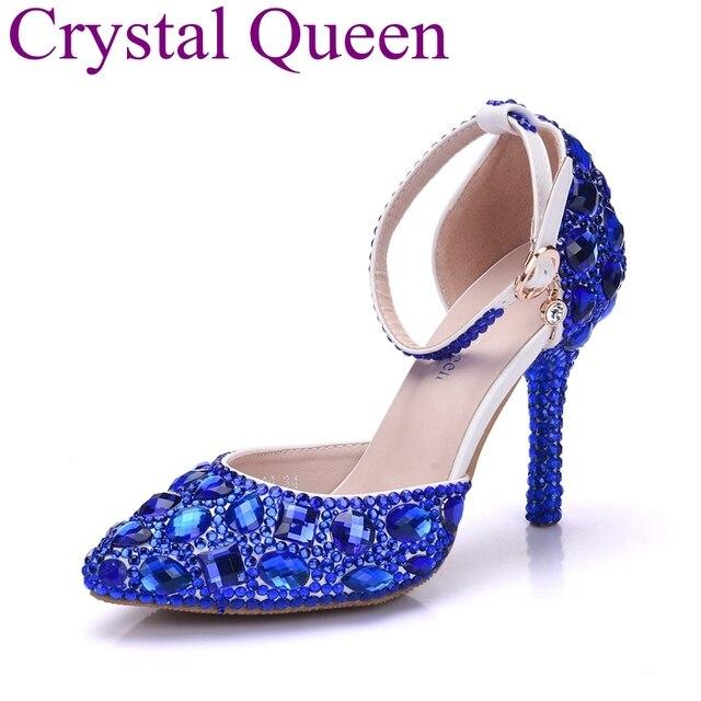 df884e6d57 Rainha de cristal Azul Royal Rhinestone Cristal Sandálias de Salto Alto  Sapatos de Casamento