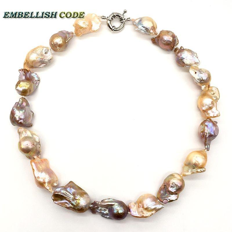 Gran Perla Barroca Irregular declaración collar tejido nucleado flameball melocotón púrpura mezclado perlas naturales joyería popular - 2