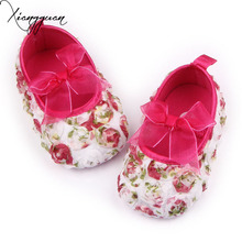 Hot Spring Autumn Rose Lace Bowknot Flower Fancy Baby Girls First Walker Dress Shoes For 0-15 Months
