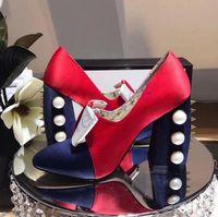 Для подиума женские туфли на высоком квадратном каблуке с жемчугом бабочкой заклепки шпилька насосы носком B111