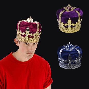Crown Tiara Hat Cap King Queen Cosplay Hairwear Unisex Prince Princess Fashion Jewel Woman Men`s Crown Imperial State Colour