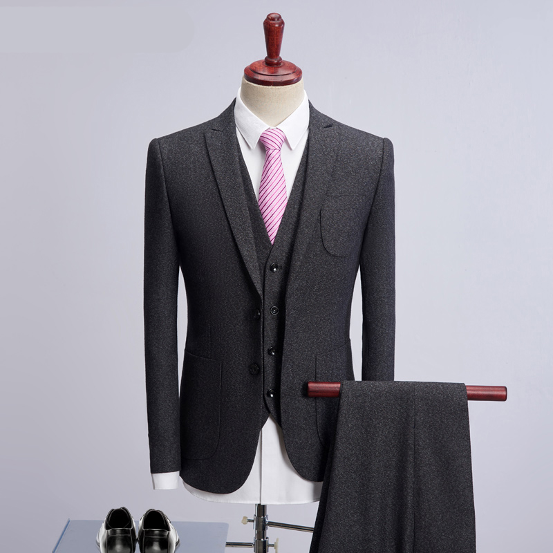 2018 New Bussiness Professional Suits 3 Psc (Jacket+Pants+Vest+Tie) Slim Men Suit Latest Coat Pant Design Gentleman Wedding Suit