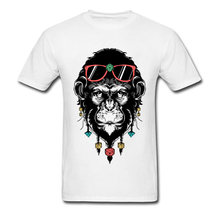 Lasting Charm Unique Tribal Monkey Men White Sports T-shirt Plus Size Hipster Street Tops Short Sleeve Gorilla Tee Shirt(China)