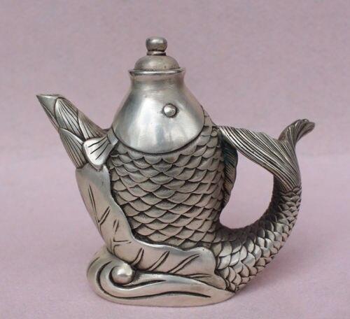 Oude China Brons Carving Verzilvering Lotus Levensechte Vis Wijn pot Theepot Standbeeld kleine-in Beelden & Sculpturen van Huis & Tuin op  Groep 1