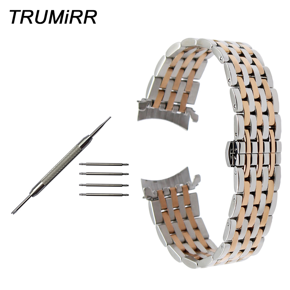 Curved End Stainless Steel Watch Band for Seiko 5 SKX007 Premier Superior Presage Wrist Strap Silver Rose Gold 18mm 20mm 22mm curved end stainless steel watch band tool for jacques lemans frederique constant orient watch band wrist strap 18mm 20mm 22mm
