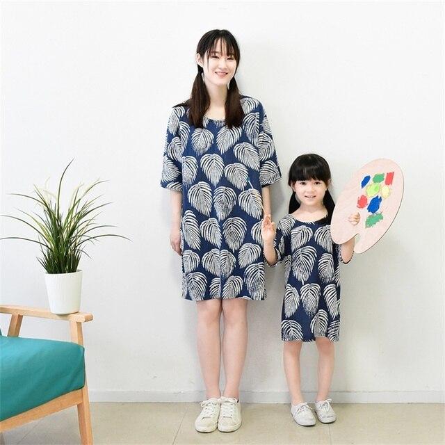 Семья clothing набор половина рукава листья белье свободные детская одежда мать девушки летом пляж платье мама и дочь платья
