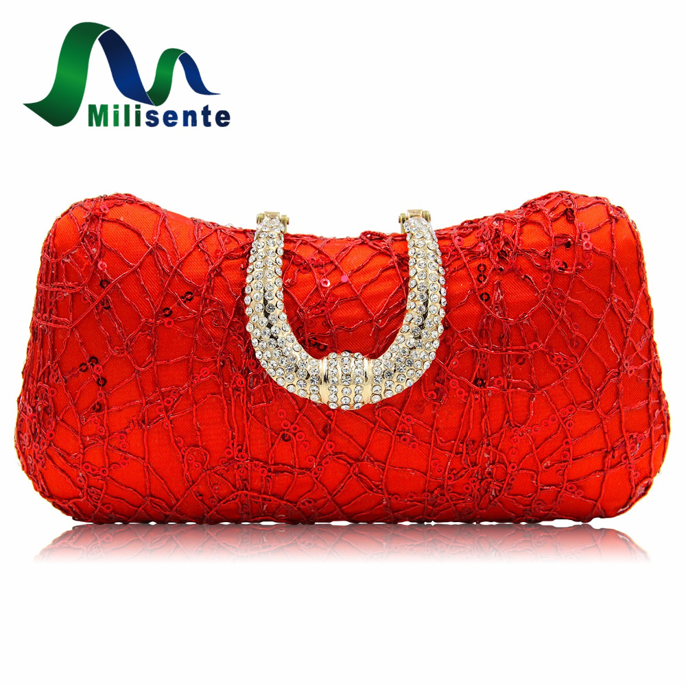 Milisente Red Designer Clutches Luxury Crystal Evening Bags Silver Women Tote Wedding Clutch Lady Purse And Handbags With Chain  mystic river designer pearl bags circle shape beaded clutches women wedding bag with chain lady evening clutch purse