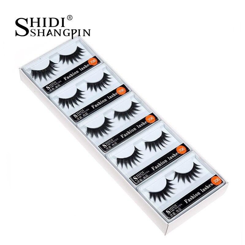 SHIDISHANGPIN 10 pairs natural false eyelashes machine made synthetic hair fake eyelash extension long eye lashes #706