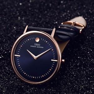 Image 4 - Novo ibso masculino relógios de moda 7.5mm ultra fino rosa ouro relógios pulseira de couro azul analógico quartzo relógios relogio masculino 1615