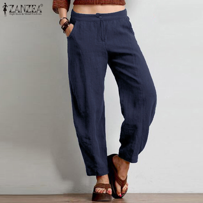 ZANZEA Women Casual Straight Trousers Solid Cotton Linen   Wide     Leg     Pants   Loose Harem   Pants   Autumn Pockets Pantalon Streetwear