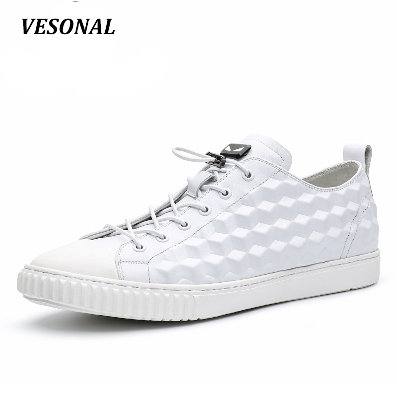 VESONAL 2017 100% Luxury Genuine Leather Men Shoes Fashion Plaid Rubik's Cube Flat Mens Shoes Casual Top Quality Black SD7010 vesonal 2017 top quality lycra outdoor ultralight slip on loafers men shoes fashion stripe mens shoes casual sd7005