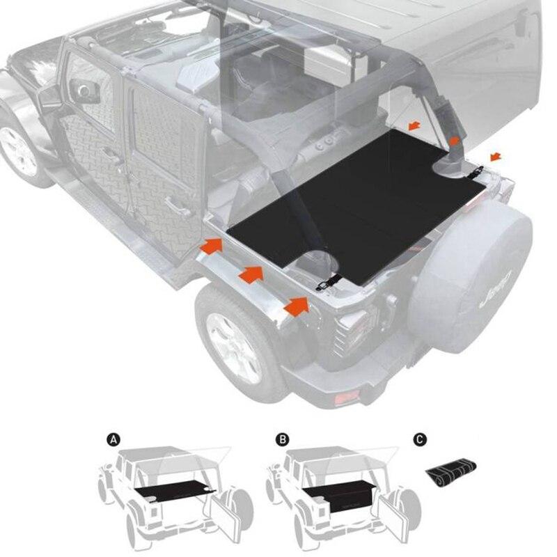 Marlaa pour Jeep Wrangler JKU Sports/Sahara/liberté/Rubicon 2007-2017 organisateur de couverture de cargaison de voiture avec 6 anneaux en D d'arrimage