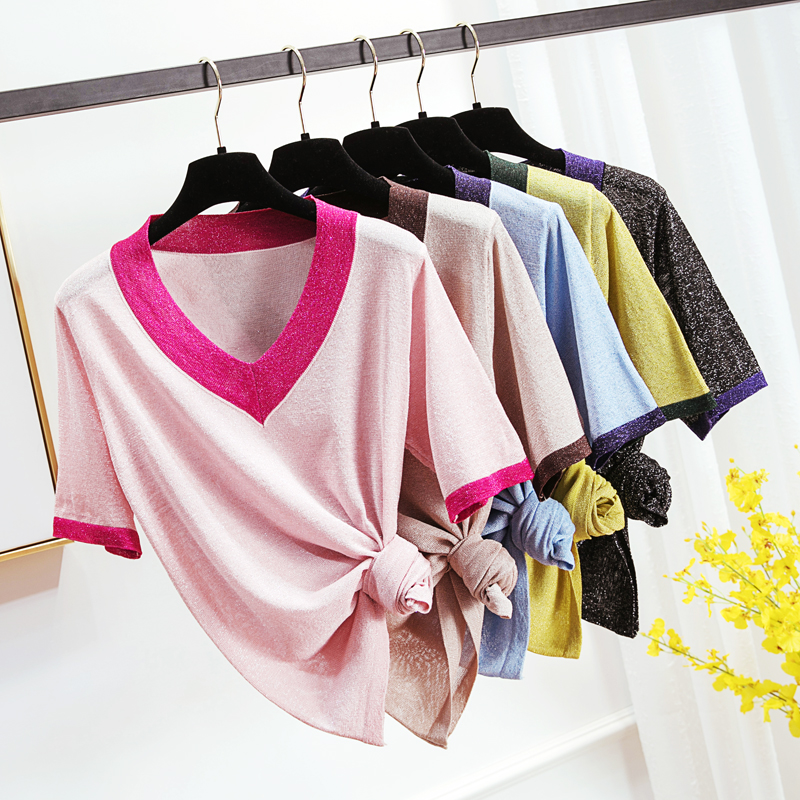 Summer Women Thin Ice Silk Knitted V neck Sweater Tops shirt Femme Loose Patchwork See Through Kintwear Tops Pullovers
