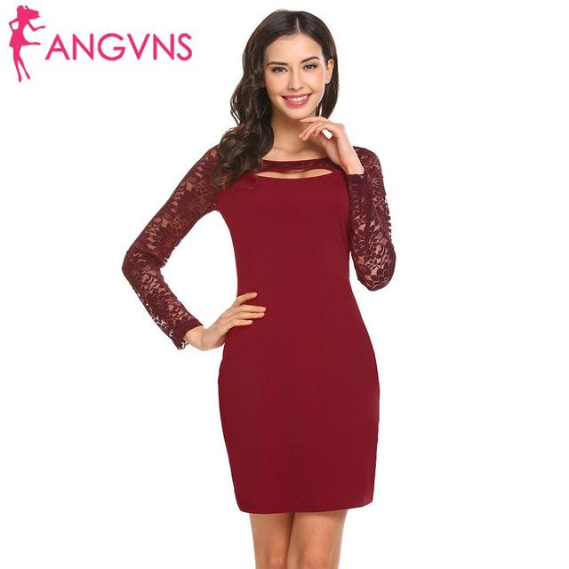 0a945a6fc6 ANGVNS Pencil Dress Autumn 2018 Women Dress Solid Cut Sexy Long Sleeve Women  Out Lace Patchwork Party Club Dress