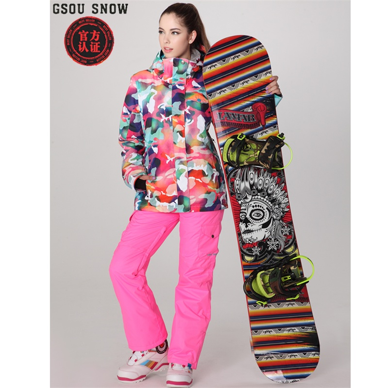 Gsou snow ski suit for Women skiing suit winter outdoor sports clothes snowboard set camouflage ski jacket and pants multicolor brand gsou snow technology fabrics women ski suit snowboarding ski jacket women skiing jacket suit jaquetas feminina girls ski