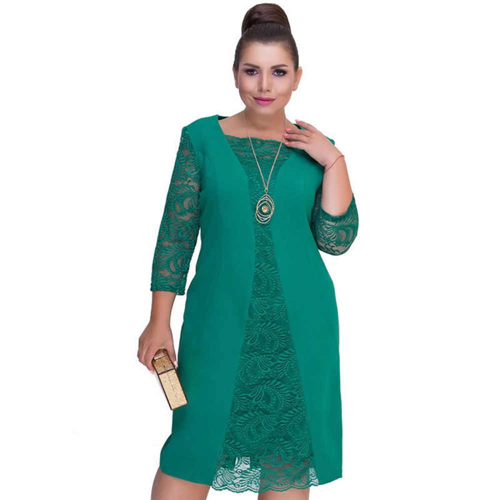 Wisalo 2019, элегантное женское весенне-осеннее платье размера плюс с кружевными вставками, офисное женское платье, однотонное прямое платье до середины икры, 6XL Vestidos