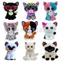 TY Beanie Boos Cat Plush Animals Big Eyes Muffin Kiki Jaden Trixie Tauri Sophie Bianca Siamese Cats Kids Toys for Children Gifts