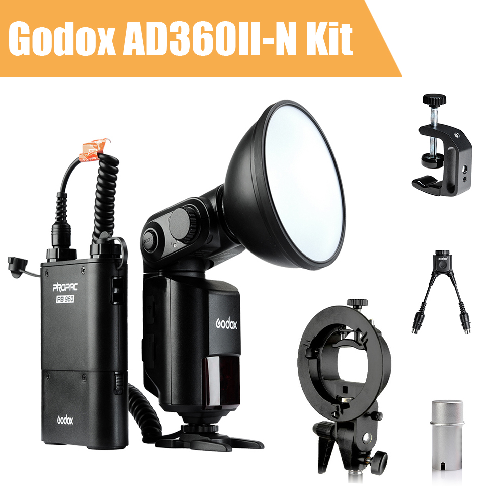 Godox Witstro AD360 AD360II-N TTL Camera Flash Speedlite for Nikon DSLR + PB960 Battery Pack + Godox Accessories Kit (Gift) w extra battery godox v860n speedlite i ttl speedlight flash light high speed godox ft 16s wireless trigger kit for nikon dslr