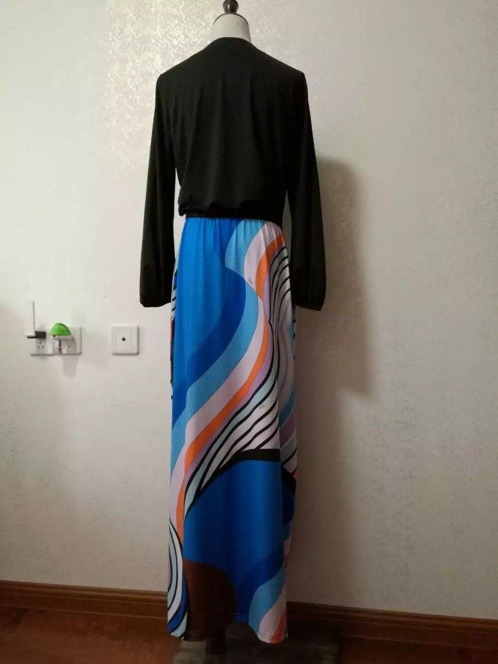 Nuovo Lunga Dress Manica Seta Size Plus Geometrica Elasticizzato Xxl Long Vestito Casuale Con Fashion Donne Di 2017 Maxi Delle Jersey Stampa vxazrqvwg