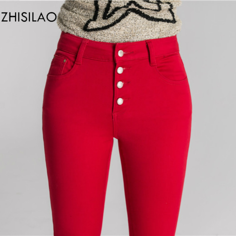 ZHISILAO 2018 Woman   Jeans   Skinny   Jeans   Denim Pants Pencil Pants Woman Trousers Woman Pantalon Mujer High Waist Casual Pants Red