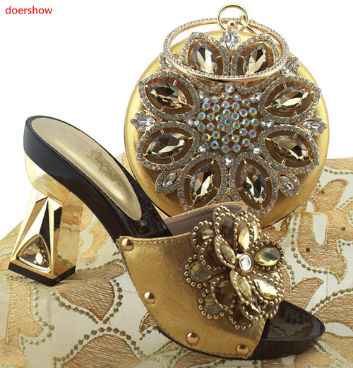 doershow Nigerian GOLD Style Woman Shoes And Bag Set Latest Italian Shoes And Bag Set For Party Dress free shipping HUU1-32 free shipping fashion woman matching shoes and bag set italian for party high quality design wholesale price doershow hp1 23
