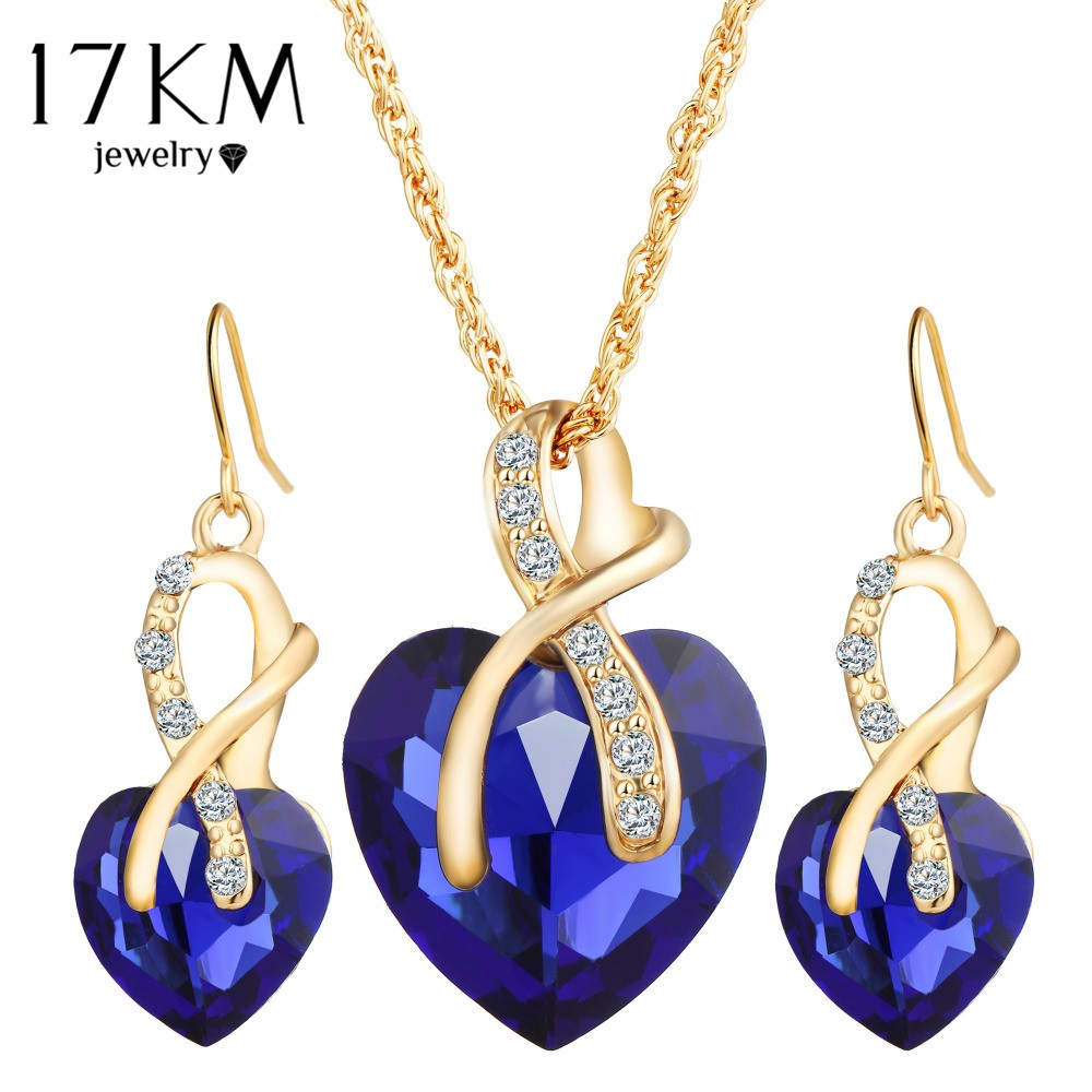 17KM New Gold Color Love Crystal Heart Jewelry Sets