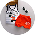 Free shipping 2017 summer new suit for children 1-3 years  infant child Baby Mickey cotton vest two piece sets