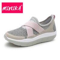 MINIKA Size 35 44 Summer Breathable Women Casual Shoes New Fashion Women Platform Balance Flat Shoes