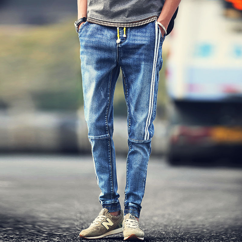 Men-s-jeans-Youth-popular-personality-fashion-white-stripes-stitching-drawstring-pants-beam-Casual-clothing-boutique (4)