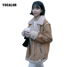YOCALOR Winter Faux Fur Coat Suede Locomotive Woman Parka Casaco Jaquetas Feminino Female Wool Blends Outerwear Snow Wear Uk