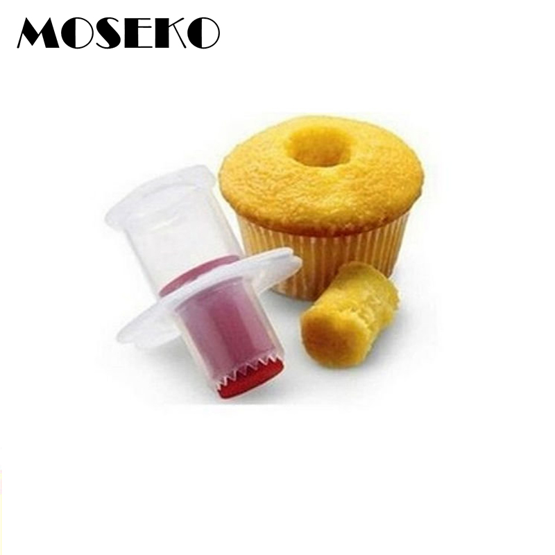MOSEKO 2pc Plastic Cupcake Corer Plunger Circle Cutter Core Remover Muffin Cake DIY Decorating Tools Baking Pastry Accessories