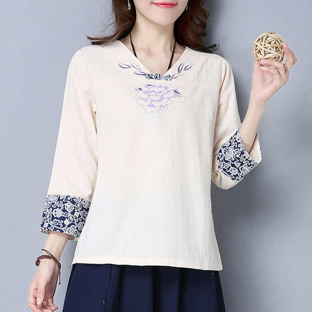 Blue And White Porcelain Cotton And Linen Shirts Chinese Wind Hand-painted Orchid Tops Women Vintage Clothing
