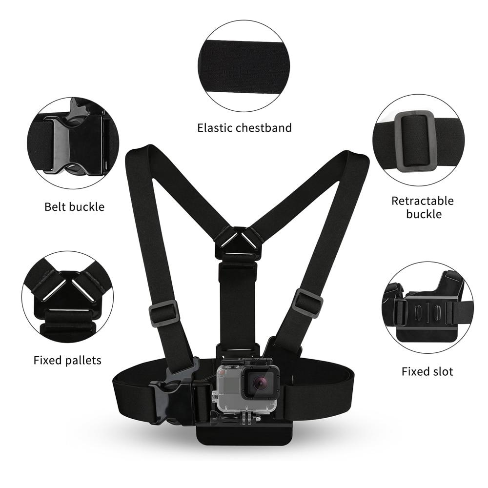 SHOOT Adjustable Harness Chest Strap Head Strap Belt for GoPro Hero 9 8 7 5 Black Xiaomi Yi 4K Sjcam Sj4000 Go Pro 7 8 Accessory 2