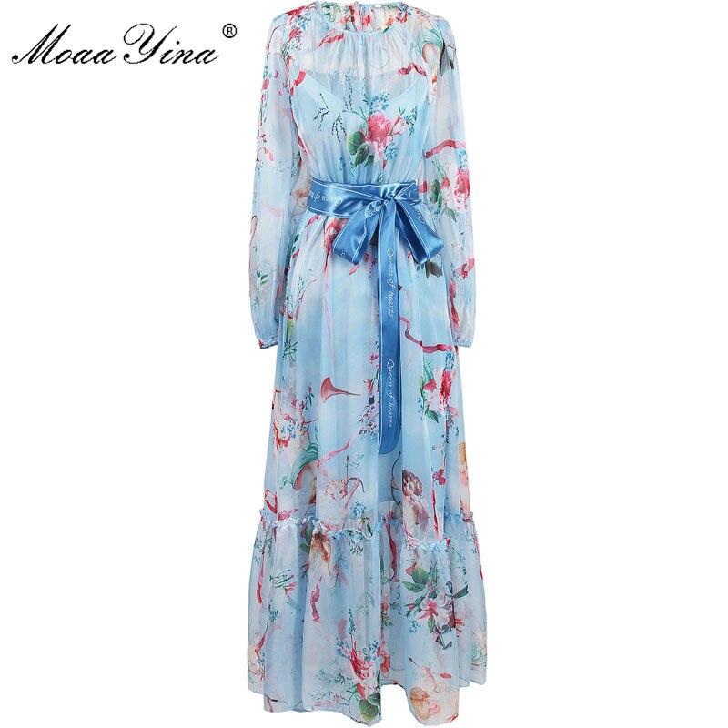 MoaaYina 2018 Fashion Designer Runway Dress Summer Women Long sleeve Floral Print Character Casual Holiday Bohemia Beach Dress