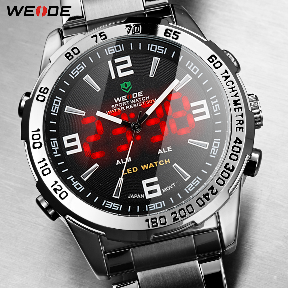 WEIDE 2019 Men's Business Casual Watches Luxury Brand Quartz LED Digital Movement Wrist Watch Clock Military Relogio Masculino