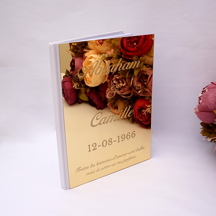 Mirror-Cover Pary-Decor Guest-Book Blank-Pages Empty Custom Wedding-Signature Different-Styles