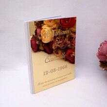 Пользовательские Свадебные подписи Гостевая книга персонализированные зеркальное покрытие пустые белые пустые страницы проверить в книжке свадебный подарок Pary Декор