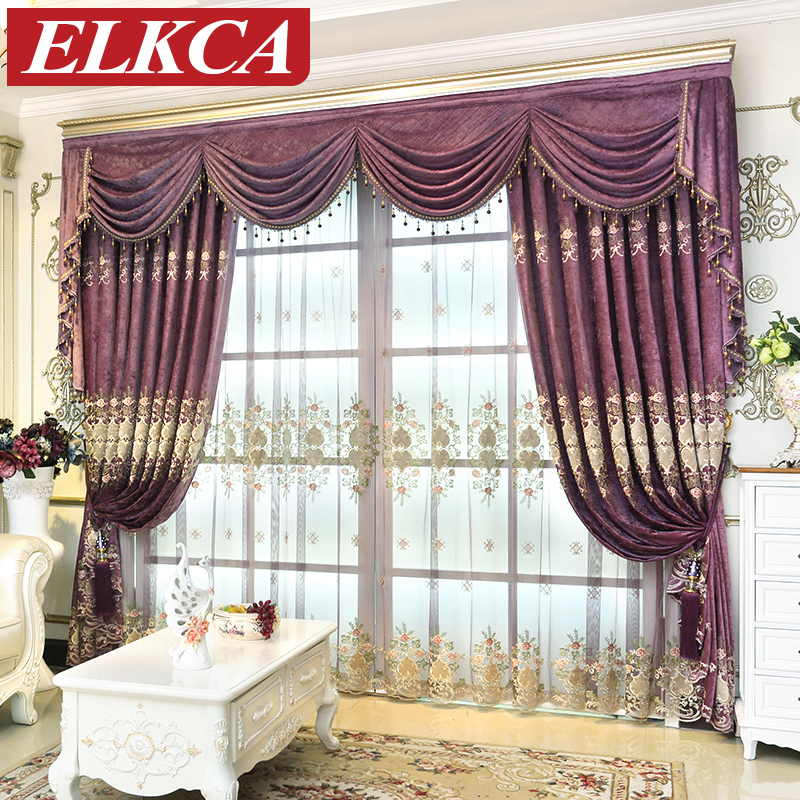 European Purple Embroidered Curtains for Living Room Luxury Tulle Curtains for the Bedroom Elegant Window Treatment Curtains window valance