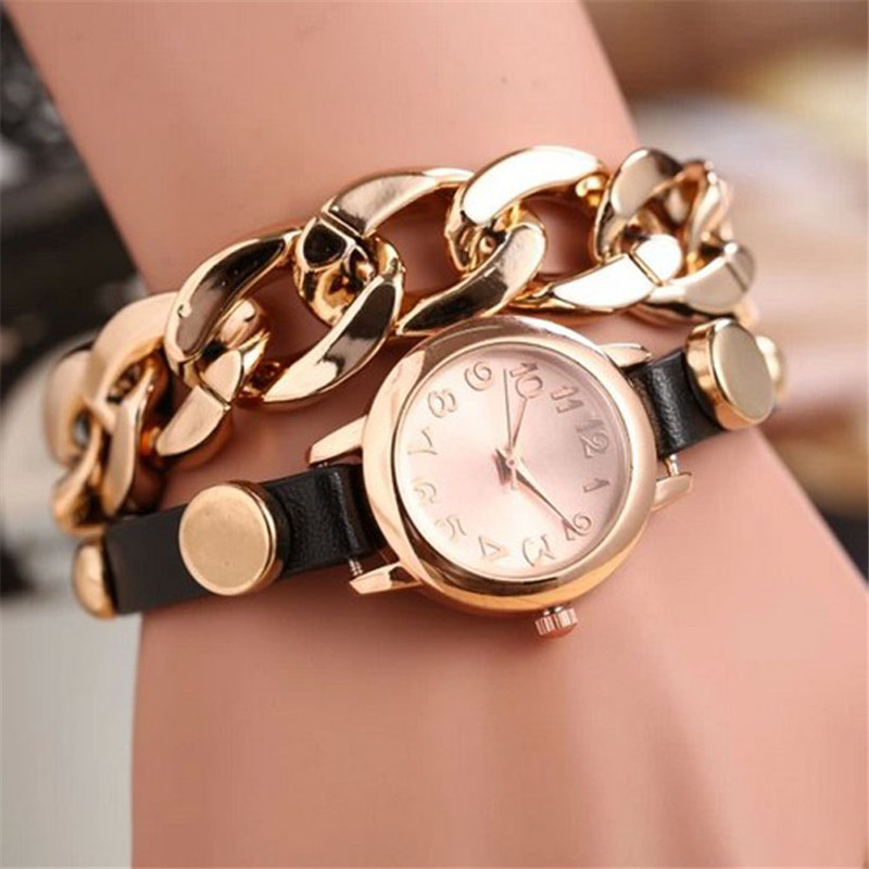 Korean Fashion Ladies Bracelet Watch Punk Women Gold Dial Leather Chain Wrap Analog Quartz Wrist Watch Clock Zegarki Damskie &AKorean Fashion Ladies Bracelet Watch Punk Women Gold Dial Leather Chain Wrap Analog Quartz Wrist Watch Clock Zegarki Damskie &A
