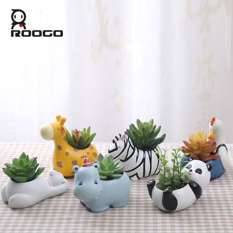 Roogo 6design Modern Cartoon Succulent Planter Pot Resin